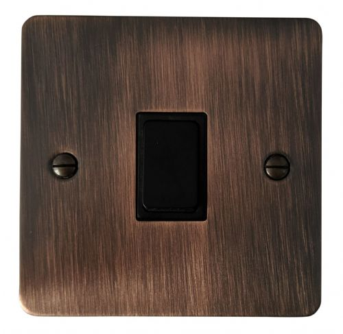 G&H FAC1B Flat Plate Antique Copper 1 Gang 1 or 2 Way Rocker Light Switch